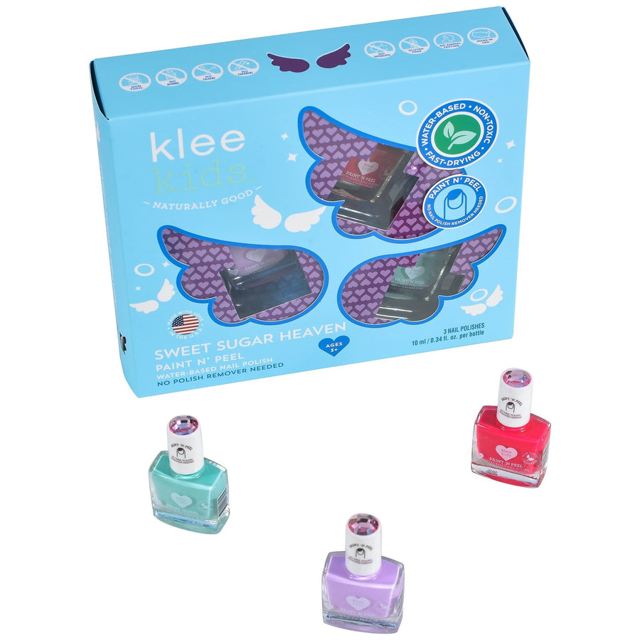 KLEE Naturals USA-SWEET SUGAR HEAVEN - KLEE KIDS WATER-BASED NAIL POLISH 3-PIECE SET 美國品牌Klee Naturals小女孩無毒天然指甲油