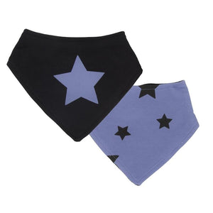 Kushies Canada- Bandana Bib- 2 packs ( Blue Stars) 加拿大品牌Kushies 口水圍巾(黑色及藍色)