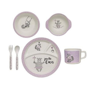 Bloomingville Denmark- Circus Serving Set, Rose, Bamboo Melamine, Set of 6 丹麥品牌兒餐具用品套裝(6件)