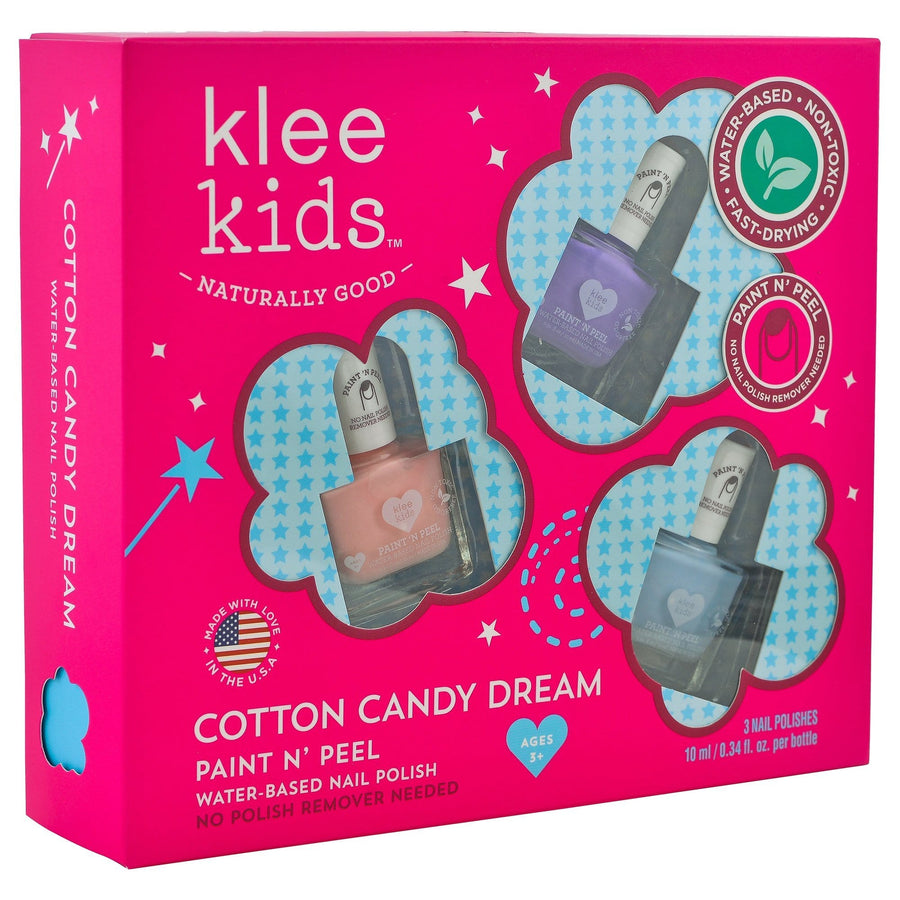 KLEE Naturals USA-COTTON CANDY DREAM - KLEE KIDS WATER-BASED NAIL POLISH 3-PIECE SET