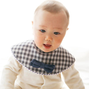 Marl Marl Japan Dolce Dark Blue Plaid Bow Tie Bib 日本品牌型格口水巾(免費繡名)