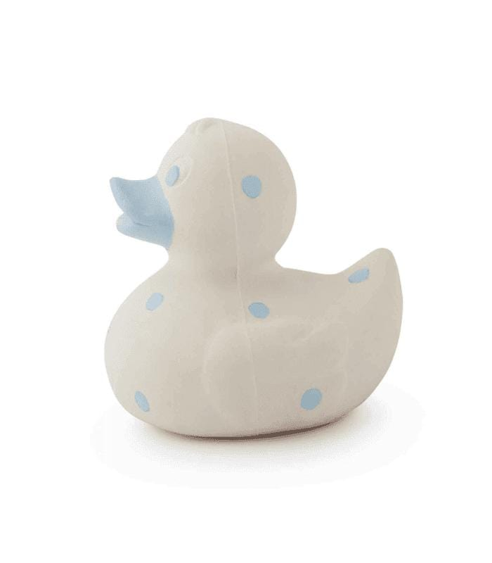 Oli & Carol Barcelona -ELVIS THE DUCK Teether - Blue Dots 西班牙Oli & Carol天然橡膠牙膠及沖涼玩具