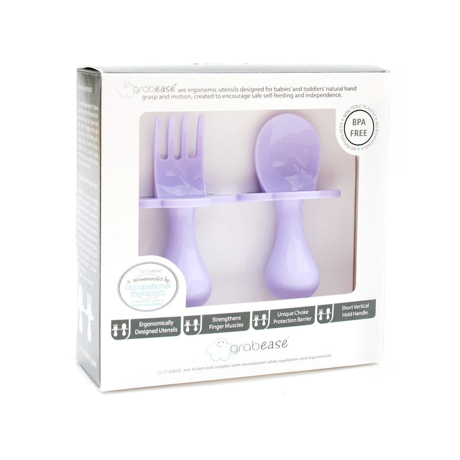 Grabease USA- Eating Utensils Set For Toddlers -Lav-ly-day (Lavender) 美國Grabease幼兒學習雲朵餐具-淺紫色
