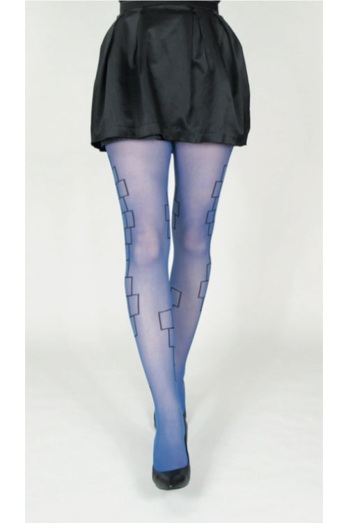 Blå strumpbyxor i 30 denier. Strumpbyxa med svart geometriskt mönster. Blue pantyhose in 30 denier. Tights with black geometric minimalistic pattern.