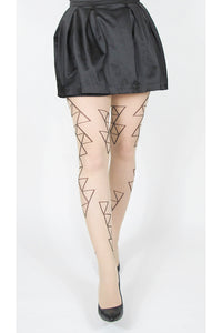 Ljusa strumpbyxor i 30 denier. Strumpbyxa med svart geometriskt mönster. Light pantyhose in 30 denier. Tights with black geometric minimalistic pattern.