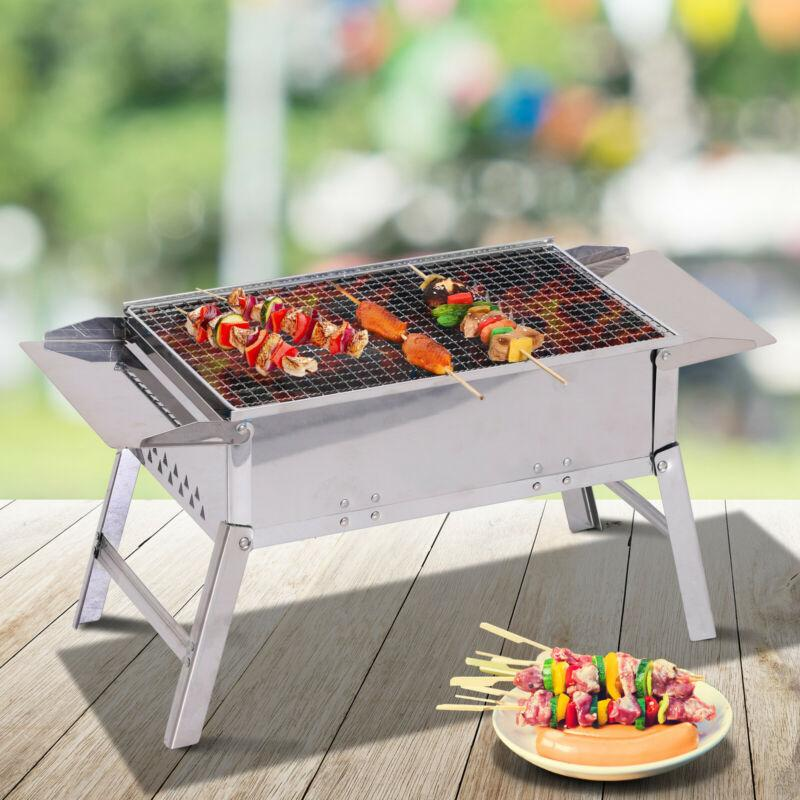 "22"" x 11"" Stainless Steel Foldable Camping Charcoal Tabletop Barbeque Grill - AmazinTrends.com"