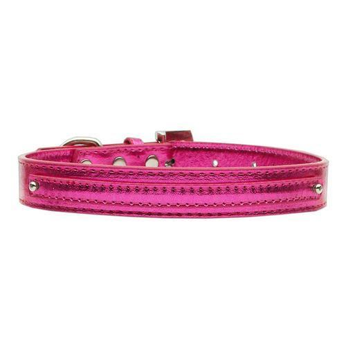 Metallic Two Tiered Dog Collar with 10MM Letter Strap - Pink