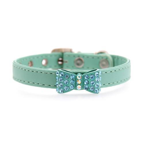 Bow-dacious Crystal Dog Collar - Aqua