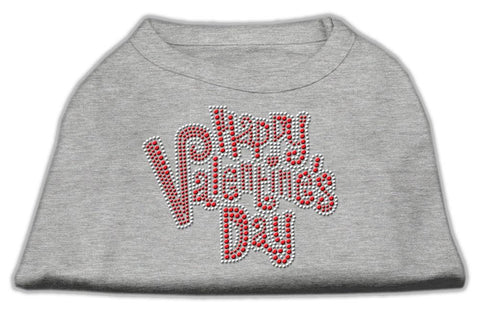 Happy Valentines Day Rhinestone Dog Shirt Grey Lg (14)