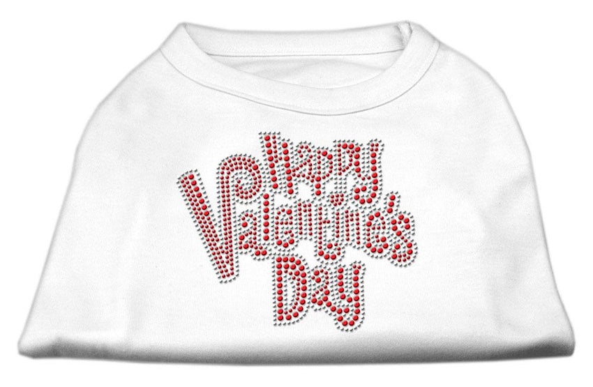 Happy Valentines Day Rhinestone Dog Shirt White Lg (14)