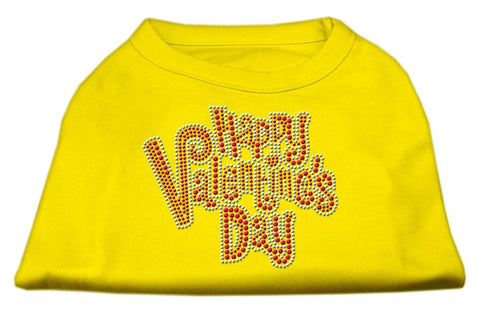 Happy Valentines Day Rhinestone Dog Shirt Yellow Lg (14)