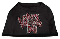 Happy Valentines Day Rhinestone Dog Shirt Black Med (12)