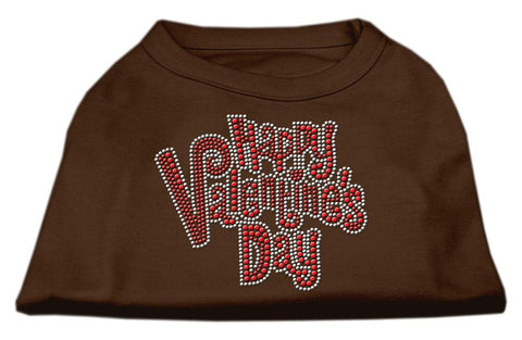 Happy Valentines Day Rhinestone Dog Shirt Brown Med (12)