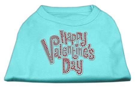 Happy Valentines Day Rhinestone Dog Shirt Aqua XL (16)