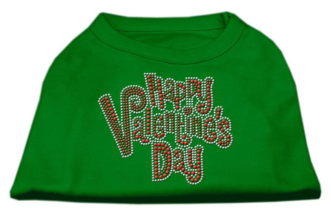Happy Valentines Day Rhinestone Dog Shirt Emerald Green XS (8)