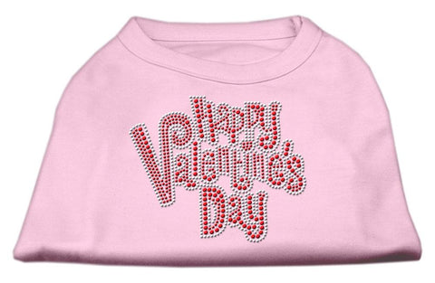 Happy Valentines Day Rhinestone Dog Shirt Light Pink XS (8)