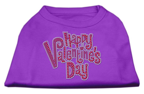 Happy Valentines Day Rhinestone Dog Shirt Purple XS (8)