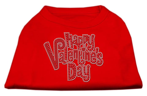 Happy Valentines Day Rhinestone Dog Shirt Red XS (8)