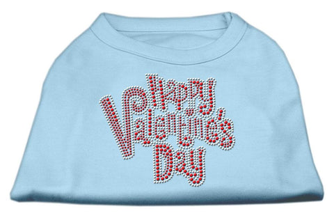 Happy Valentines Day Rhinestone Dog Shirt Baby Blue XXL (18)