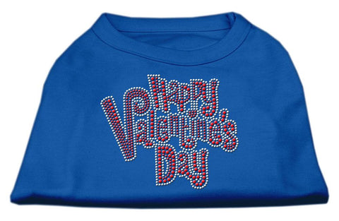 Happy Valentines Day Rhinestone Dog Shirt Blue XXL (18)