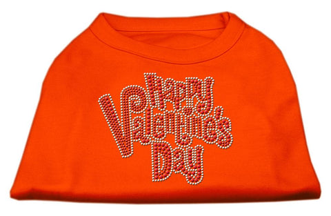 Happy Valentines Day Rhinestone Dog Shirt Orange XXL (18)