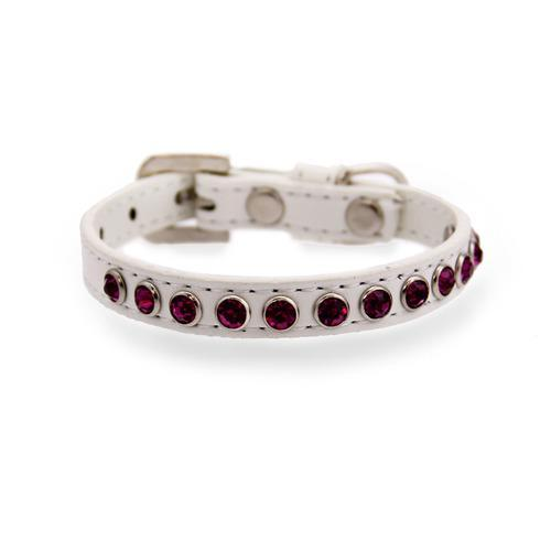 Bright Pink Crystal Puppy White Dog Collar