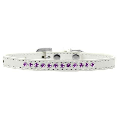 Purple Crystal Puppy White Dog Collar