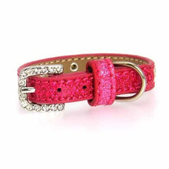 Clear Crystal Puppy Ice Cream Dog Collar - Pink