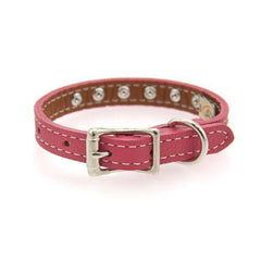 Tuscan Crystallized Leather Dog Collar by Auburn Leather - Pink