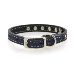 Tuscan Crystallized Leather Dog Collar by Auburn Leather - Navy Blue