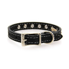 Tuscan Crystallized Leather Dog Collar by Auburn Leather - Black