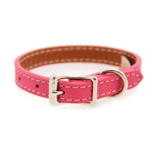 Tuscan Leather Dog Collar by Auburn Leather - Pink