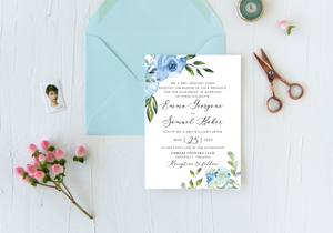 Blue Poppies & Hydrangeas Wedding Invitation - Digital or Print