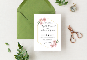 Blush Floral Hex Wedding Invitation - Digital or Print