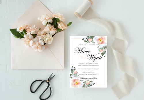 Blush & White Garden Roses Wedding Invitation - Digital or Print