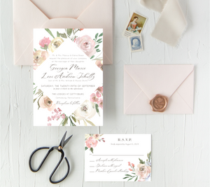 Diamond Blush Floral Wedding Stationery Mini Collection - Digital or Print