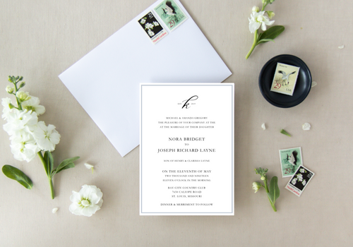Classic Established Monogram Wedding Invitation - Digital or Print
