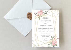 Geometric Blush Floral & Glitter Wedding Invitation - Digital or Print