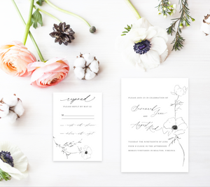 Ink Magnolia Modern Romantic Wedding Stationery Mini Collection - Digital or Print