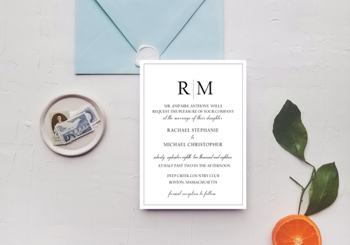 Modern Line Monogram Wedding Invitation - Digital or Print