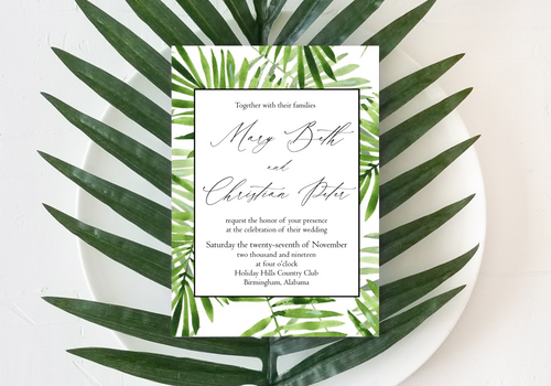 Palm Fronds Wedding Invitation - Digital or Print