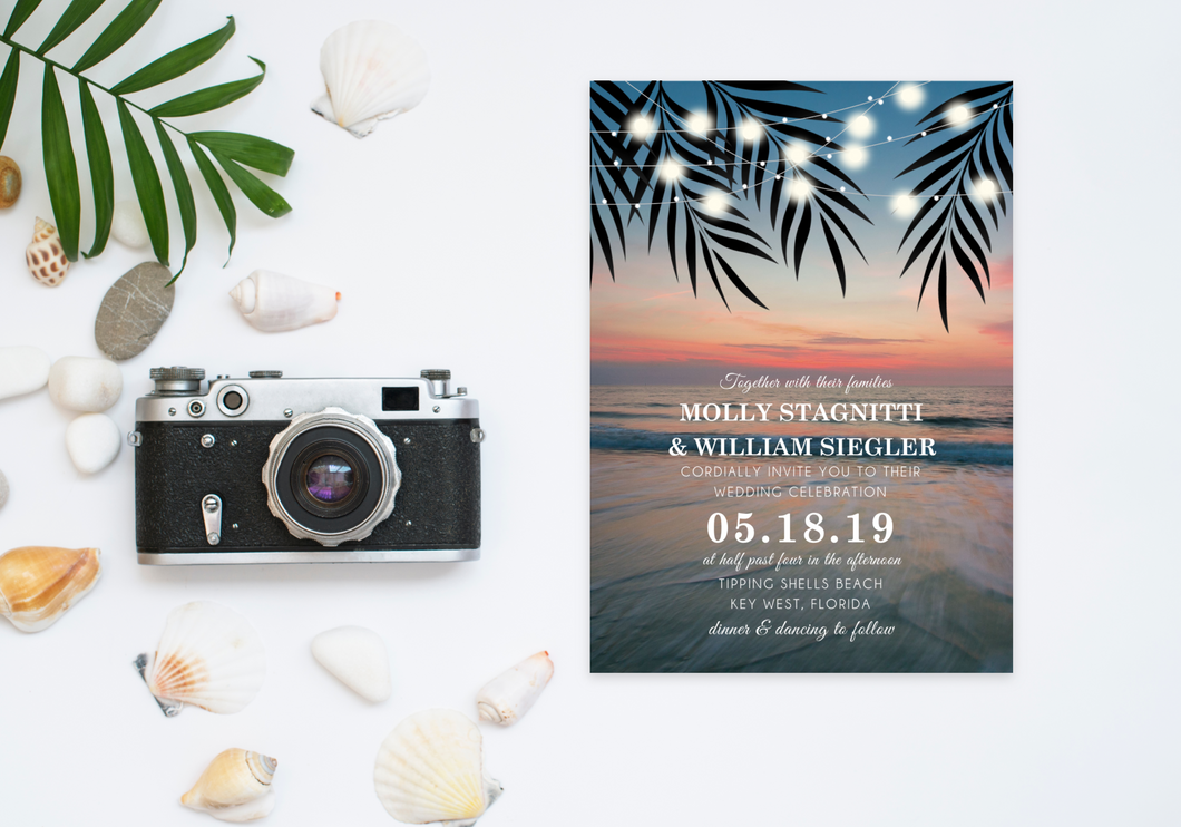 Beach Sunset & Palms Wedding Invitation - Digital or Print