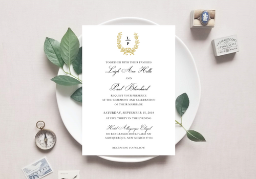 Vintage Monogram Wedding Invitation - Digital or Print