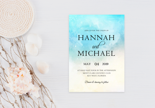 Watercolor Wave Wedding Invitation - Digital or Print