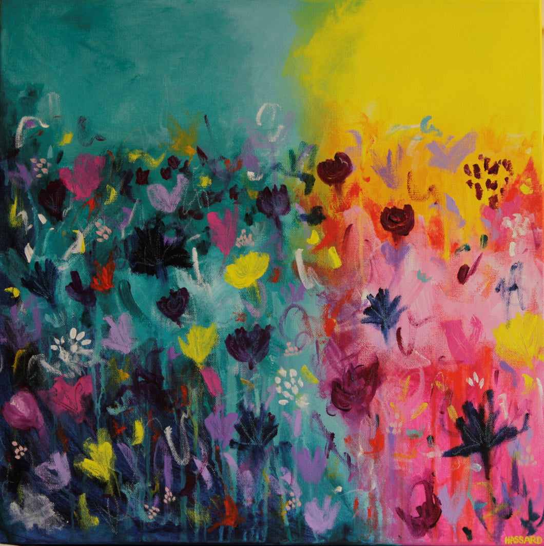 Amongst the Flowers abstract floral painting by Dana Hassard