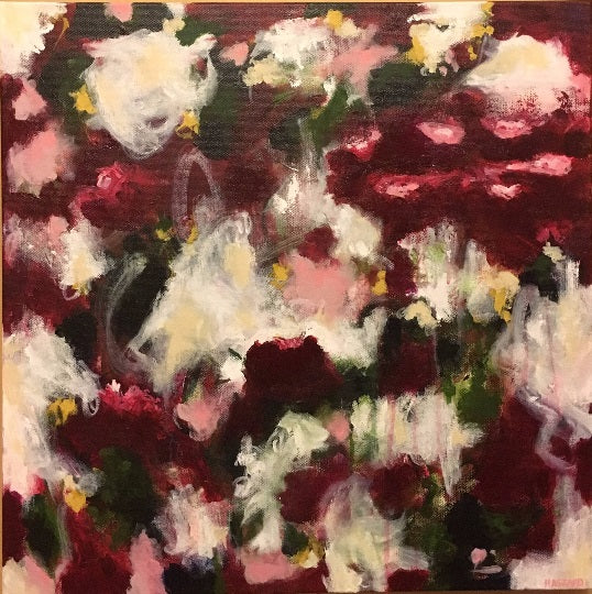 Crimson Blooms abstract painting by Dana Hassard