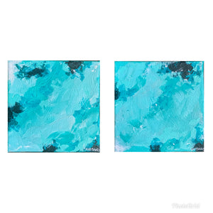 "Aqua Movement, 5x5"" (10x10"" total) diptych abstract"