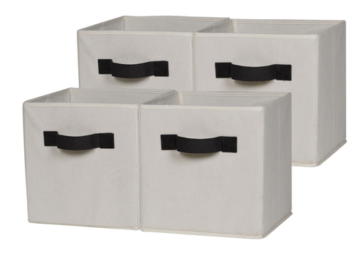 Foldable Cloth Storage Cube, Beige (4 or 6 pack)