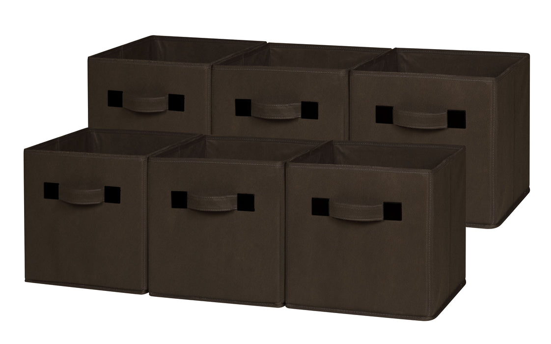 Foldable Cloth Storage Cube, Brown (4 or 6 pack)