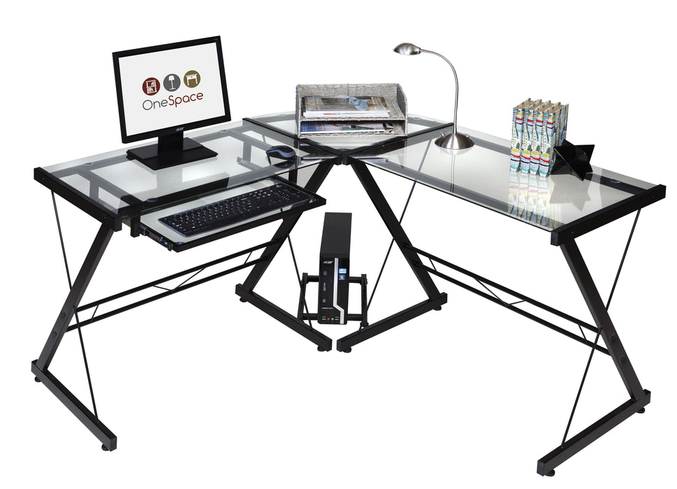 Ultramodern Glass L Shaped Desk 3 Color Options